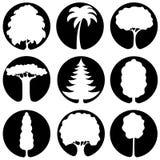 Ένα σύνολο εικονιδίων δέντρων Στοκ φωτογραφία με δικαίωμα ελεύθερης χρήσης