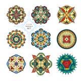 Ένα σύνολο εννέα mandalas Στοκ εικόνες με δικαίωμα ελεύθερης χρήσης