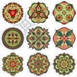 Ένα σύνολο εννέα mandalas Στοκ Εικόνα