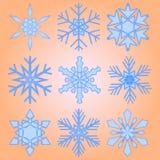 Ένα σύνολο εννέα snowflakes Χριστουγέννων Στοκ εικόνα με δικαίωμα ελεύθερης χρήσης