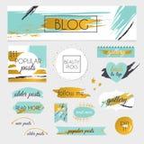 Ένα σύνολο εξάρτησης στοιχείων σχεδίου blog Πλαίσια, διαιρέτες, διακοσμητικοί απεικόνιση αποθεμάτων