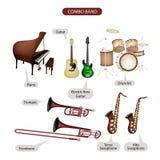 Ένα σύνολο εξοπλισμού μουσικής εμπορικών σημάτων Combo απεικόνιση αποθεμάτων