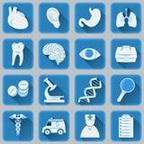 Ένα σύνολο επίπεδων τετραγωνικών εικονιδίων στα ιατρικά θέματα Μπλε και γκρίζο καθιερώνον τη μόδα σχέδιο χρώματος απεικόνιση αποθεμάτων