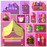 Ένα σύνολο επίπλων και δωματίου των παιδιών Στοκ Εικόνες