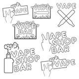 Ένα σύνολο ηλεκτρονικών λογότυπων τσιγάρων Στοκ εικόνα με δικαίωμα ελεύθερης χρήσης