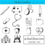 Ένα σύνολο 14 ιατρικά εικονίδια Στοκ φωτογραφία με δικαίωμα ελεύθερης χρήσης