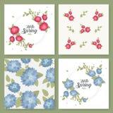 Ένα σύνολο ιπτάμενων, φυλλάδια, σχέδιο προτύπων Εκλεκτής ποιότητας κάρτες με τα σχέδια και τις διακοσμήσεις λουλουδιών Floral δια Στοκ φωτογραφία με δικαίωμα ελεύθερης χρήσης