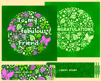 ένα σύνολο καρτών για τα συγχαρητήρια και τις προσκλήσεις στο ύφος των παιδιών Στοκ Φωτογραφίες