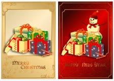 Ένα σύνολο καρτών Χριστουγέννων. 01 (διάνυσμα) Στοκ εικόνα με δικαίωμα ελεύθερης χρήσης