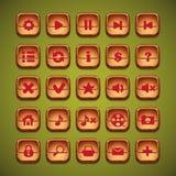Ένα σύνολο ξύλινων κουμπιών κινούμενων σχεδίων για το ενδιάμεσο με τον χρήστη των παιχνιδιών στον υπολογιστή και του σχεδίου Ιστο Στοκ φωτογραφία με δικαίωμα ελεύθερης χρήσης