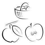 Ένα σύνολο λογότυπων που απεικονίζουν τα μήλα Στοκ Φωτογραφίες