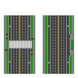 Ένα σύνολο οδικών τμημάτων Στάση μετάβαση Πορείες, πεζοδρόμια και διατομές ποδηλάτων επάνω από την όψη απεικόνιση Στοκ Εικόνες