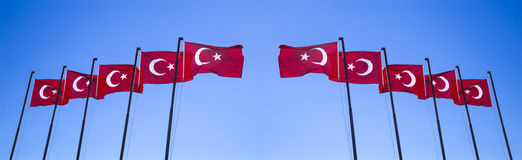 Ένα σύνολο σημαίας της Τουρκίας Στοκ Φωτογραφία