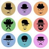 Ένα σύνολο στρογγυλών επίπεδων εικονιδίων Σκιαγραφία ενός ατόμου που φορά ένα καπέλο, με τα γυαλιά, με μια γενειάδα και mustache Στοκ Φωτογραφίες