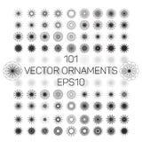 Ένα σύνολο 101 στρογγυλών spirograph γεωμετρικών διακοσμήσεων καθορισμένων Διανυσματική απεικόνιση EPS10 Στοκ εικόνα με δικαίωμα ελεύθερης χρήσης