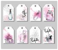 Ένα σύνολο συρμένων χέρι χαριτωμένων ετικεττών δώρων όμορφο άρωμα μπουκαλιών Υπόβαθρο μόδας και ομορφιάς διάνυσμα απεικόνιση αποθεμάτων