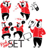 Ένα σύνολο σχεδίων των κόκκινος-μαύρων ατόμων Στοκ εικόνα με δικαίωμα ελεύθερης χρήσης