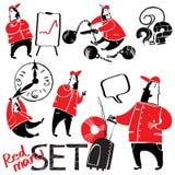 Ένα σύνολο σχεδίων των κόκκινος-μαύρων ατόμων Στοκ φωτογραφίες με δικαίωμα ελεύθερης χρήσης