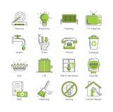 Ένα σύνολο σύγχρονης λεπτής γραμμής με την πράσινη εγκατάσταση δημόσιας χρήσης χρωματισμού, εγκαταστάσεις κατοικίας, κοινοτικά δι Στοκ Φωτογραφίες