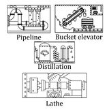Ένα σύνολο τεσσάρων εικόνων μιας τεχνολογικής βιομηχανικής μηχανής Στοκ Εικόνα