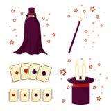 Ένα σύνολο του μάγου θαυματοποιών, του κουνελιού, των καρτών και της μαγικής ράβδου διανυσματική απεικόνιση