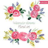 Ένα σύνολο τριαντάφυλλων watercolor ανθίζει και φύλλο Στοκ εικόνες με δικαίωμα ελεύθερης χρήσης