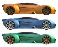 Ένα σύνολο τριών εννοιολογικών αγωνιστικών αυτοκινήτων ενός προτύπου των κίτρινων, μπλε και πράσινων χρωμάτων Πλάγια όψη τρισδιάσ απεικόνιση αποθεμάτων