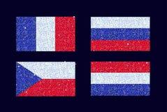 Ένα σύνολο τυποποιημένου ακτινοβολεί λαμπιρίζοντας λαμπρές μπλε κόκκινες και άσπρες σημαίες χωρών Το σύνολο περιλαμβάνει τη Γαλλί Στοκ φωτογραφία με δικαίωμα ελεύθερης χρήσης