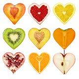 Ένα σύνολο φρούτων υπό μορφή καρδιάς στοκ εικόνα με δικαίωμα ελεύθερης χρήσης