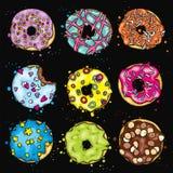 Ένα σύνολο όμορφων ζωηρόχρωμων donuts Διανυσματική απεικόνιση για την κάρτα ή αφίσα, τυπωμένη ύλη στα ενδύματα Τρόφιμα και επιδόρ Στοκ Φωτογραφίες