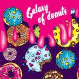 Ένα σύνολο όμορφων ζωηρόχρωμων donuts Διανυσματική απεικόνιση για την κάρτα ή αφίσα, τυπωμένη ύλη στα ενδύματα Τρόφιμα και επιδόρ Στοκ φωτογραφίες με δικαίωμα ελεύθερης χρήσης