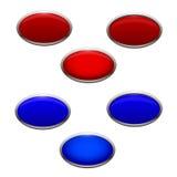 Ένα σύνολο Crans και μπλε αναδρομικά φωτισμένων κουμπιών που είναι π διανυσματική απεικόνιση
