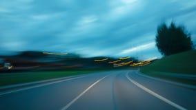 Ένα ταξίδι στην εθνική οδό η νύχτα, χρόνος-σφάλμα απόθεμα βίντεο
