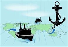 Ένα ταξίδι μέσω των παγκόσμιων ωκεανών Στοκ Εικόνες