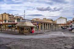 Ένα τετράγωνο στη Φλώρινα, ένας δημοφιλής χειμερινός προορισμός στη βόρεια Ελλάδα στοκ εικόνα με δικαίωμα ελεύθερης χρήσης