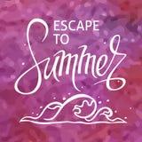 Ένα τετραγωνικό διανυσματικό υπόβαθρο με ένα κύμα θάλασσας Διαφυγή στο καλοκαίρι Ένα πρότυπο για μια αφίσα, κάρτα, ιπτάμενο στοκ εικόνες