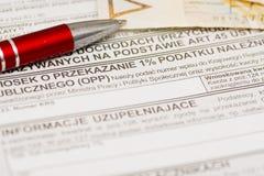 Ένα τοις εκατό για την οργάνωση δημόσιων οφελών, πολωνική φορολογική μορφή στοκ εικόνα με δικαίωμα ελεύθερης χρήσης