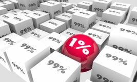 Ένα τοις εκατό 1 εναντίον της μειονότητας πλειοψηφίας 99 διανυσματική απεικόνιση