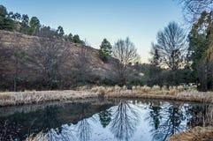 Ένα τοπίο αντανάκλασης λιμνών σε Underberg στοκ φωτογραφία