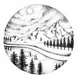 Ένα τοπίο βουνών με τον ποταμό και τα δέντρα ελεύθερη απεικόνιση δικαιώματος