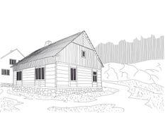 Ένα του χωριού ξύλινο σπίτι για την αστική ζωή ενός κατοίκου πόλης Στοκ Εικόνες
