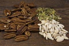 Ένα τρίο των ακατέργαστων έξοχων καρυδιών τροφίμων, συμπεριλαμβανομένων των πεκάν, της ακατέργαστων κολοκύθας και των σπόρων κολο Στοκ εικόνες με δικαίωμα ελεύθερης χρήσης