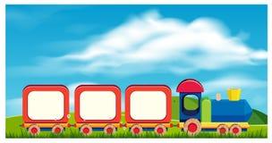 Ένα τραίνο παιχνιδιών στο υπόβαθρο φύσης ελεύθερη απεικόνιση δικαιώματος