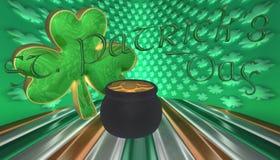 Ένα τριφύλλι με ένα δοχείο του χρυσού Σύμβολα για την ημέρα Αγίου Patricks που απομονώνεται ενάντια σε μια σημαία της Ιρλανδίας Στοκ Εικόνες