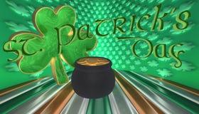 Ένα τριφύλλι με ένα δοχείο του χρυσού Σύμβολα για την ημέρα Αγίου Patricks που απομονώνεται ενάντια σε μια σημαία της Ιρλανδίας Στοκ Εικόνα