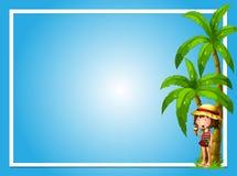 Ένα τροπικό καλοκαίρι με το μπλε πρότυπο κοριτσιών απεικόνιση αποθεμάτων
