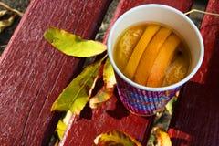 Ένα τσάι φρούτων με τα φρέσκα πορτοκάλια και τα μανταρίνια Στοκ εικόνα με δικαίωμα ελεύθερης χρήσης