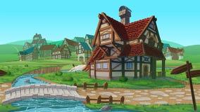 Ένα υψηλό - ποιοτικό οριζόντιο άνευ ραφής υπόβαθρο - χωριό διανυσματική απεικόνιση