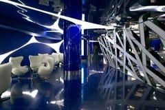 Ένα φανταστικό εσωτερικό του μέλλοντος στα γκρίζα μπλε χρώματα Στοκ Εικόνα