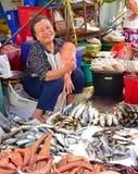 Ένα φιλικό ταϊλανδικό αποξηραμένο ψάρι πώλησης προμηθευτών σε μια υγρή αγορά κοντινή Μπανγκόκ Στοκ εικόνα με δικαίωμα ελεύθερης χρήσης